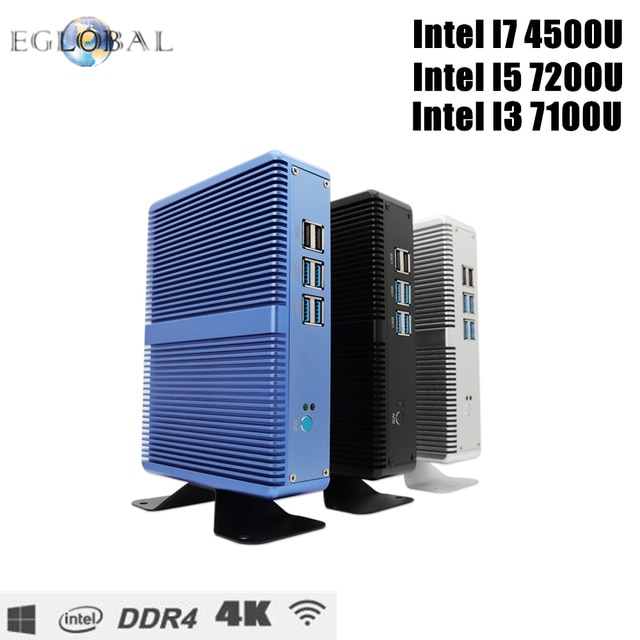 DDR4/DDR3 безвентиляторный мини-ПК Intel i7 i5 7200U i3 7100U Win10 Pro Barebone компьютер Win10 Pro Linux HTPC VGA HDMI WiFi Gigabit Lan